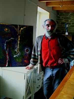 Dans son atelier, devant Pont-Aven by nigth